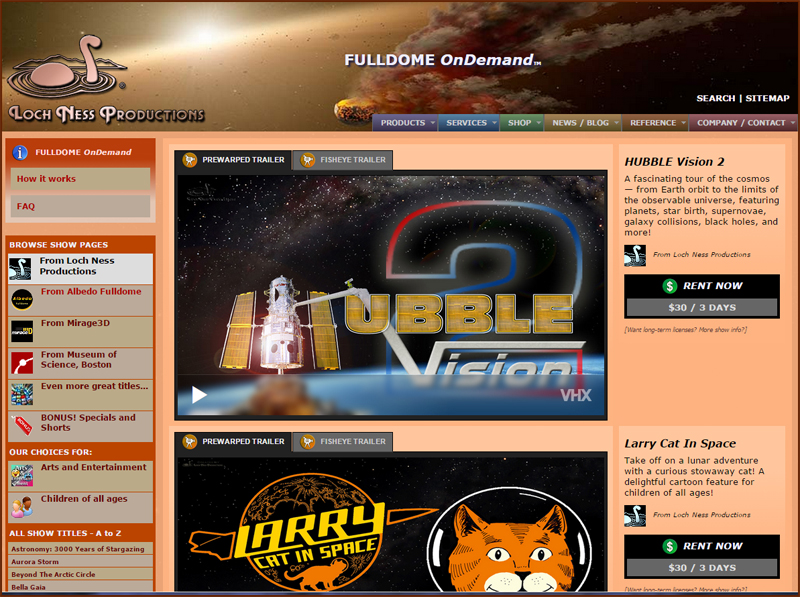 FULLDOME OnDemand page